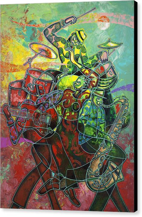 Figurative Canvas Print featuring the painting To The Beat On 2nd Street by Larry Poncho Brown