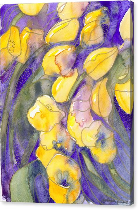 Yellow Tulips Canvas Print featuring the painting Yellow Tulips 3 by Ingela Christina Rahm