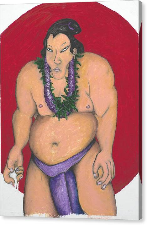 Sumo Canvas Print featuring the painting Maui Sumo by Billy Knows