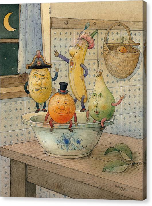 Night Moon Fruits Kitchen Canvas Print featuring the painting Fruits by Kestutis Kasparavicius