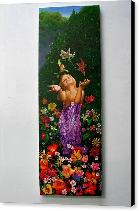 Joy/young Girl/ Flowers/outdoors/nature Canvas Print featuring the painting Joyeuse by RC Bailey
