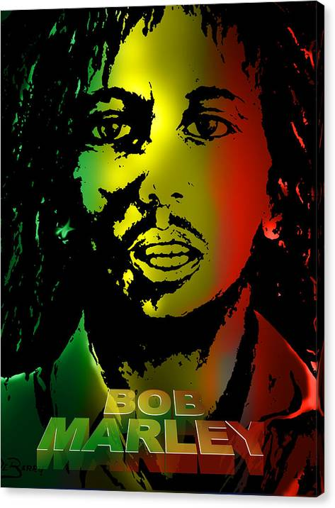 Bob Marley Print Canvas Print featuring the painting Bob Marley Print by Lloyd DeBerry
