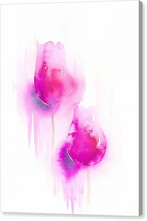 Tulips Canvas Print featuring the painting Pink Tulips by Ingela Christina Rahm