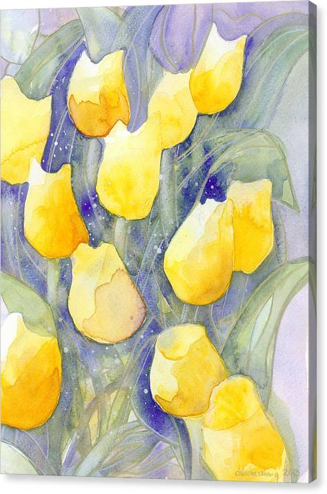 Yellow Tulips Canvas Print featuring the painting Yellow Tulips 1 by Ingela Christina Rahm