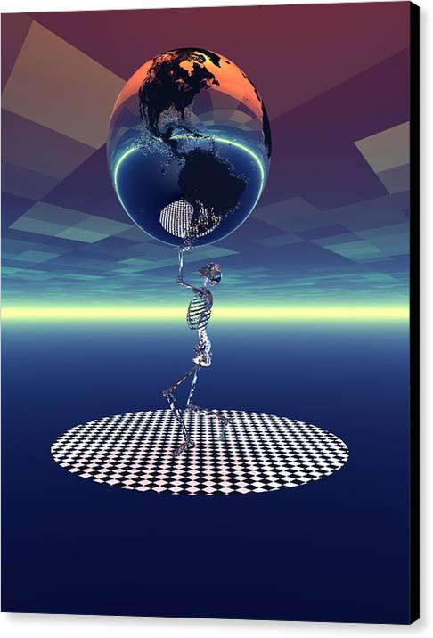 Bryce 3d Fantasy Skeleton World Canvas Print featuring the digital art Carrying The Weight Of The World by Claude McCoy
