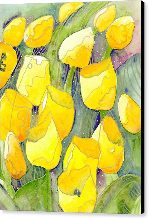 Yellow Tulips Canvas Print featuring the painting Yellow Tulips 2 by Ingela Christina Rahm