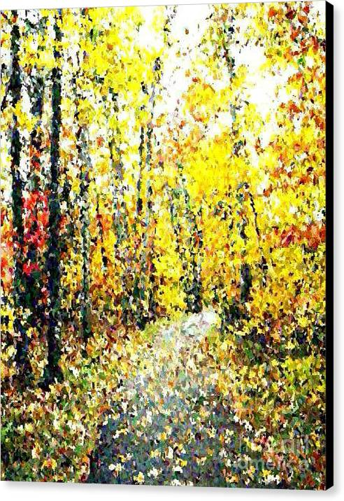 Fallscape Canvas Print featuring the painting Fallen Leaves Of Autumn by Don Phillips