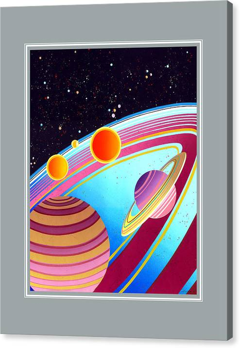 Space Canvas Print featuring the painting Space by Santi Arts