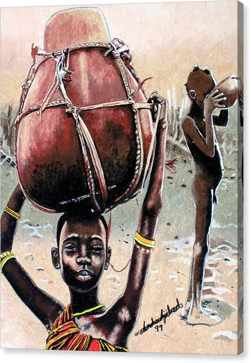 Black Art Canvas Print featuring the painting Thirst Quencher by Andre Ajibade