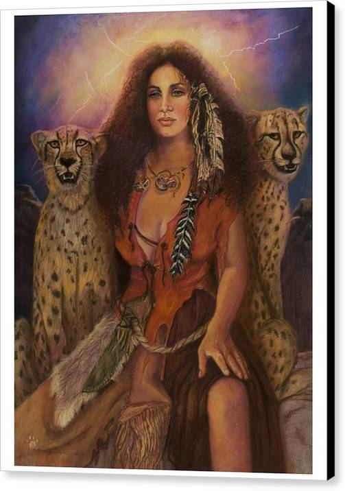 Lynx Cats Storm Lightening Beautiful Enchantress Of The Dark Forrest. Pastel Painting On Paper Indian Woman In Leather Clothing. Fantasy Pastel Painting Realistic Pastel Painting Enchantress Woman Chettahs Wild Cats Lighting Leather Clothing Canvas Print featuring the pastel Enchantress Of The Forrest by Pamela Mccabe