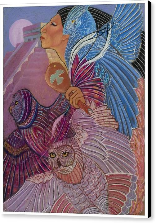 Mayan Woman With Her Owl Totoms At The Temple At Chichen Itza Central America Prymid Moon Shamaness Pastel Painting Fantasy Canvas Print featuring the pastel Owl Woman At Chichen Itza by Pamela Mccabe