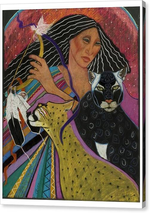 This Beautiful Mayan Woman Dances With Her Rattle And Cats Under The Moon Black Panther And Cheetah Central American Shamaness. Pastel Painting On Sandpaper Fantasy Canvas Print featuring the pastel Cat Woman From Palenque by Pamela Mccabe