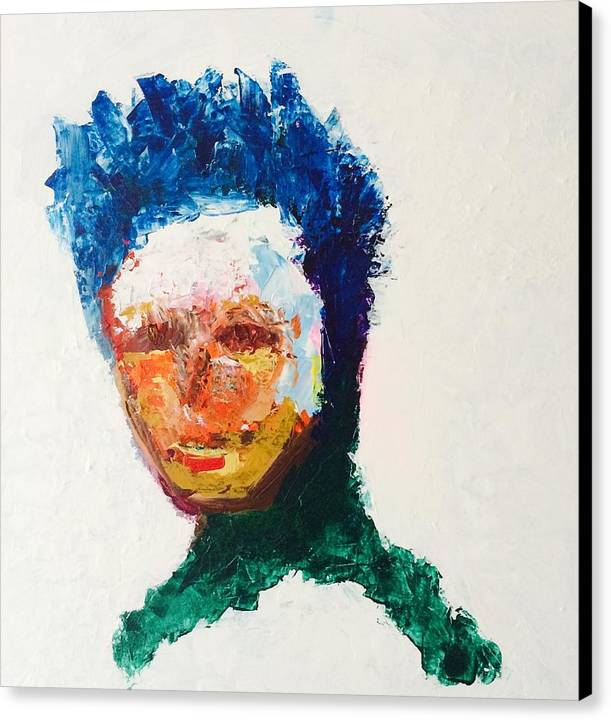 Men Abstract Impressionism Blue Hair Mexican Original Green Canvas Print featuring the painting Number 8 by Cristian Alvarez