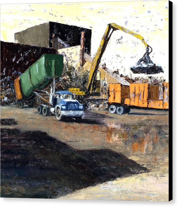 Trucks And Cranes At A Steel And Aluminum Recycling Center Chicago Industrial Corridor Canvas Print featuring the painting The Blue Truck by Nancy Albrecht