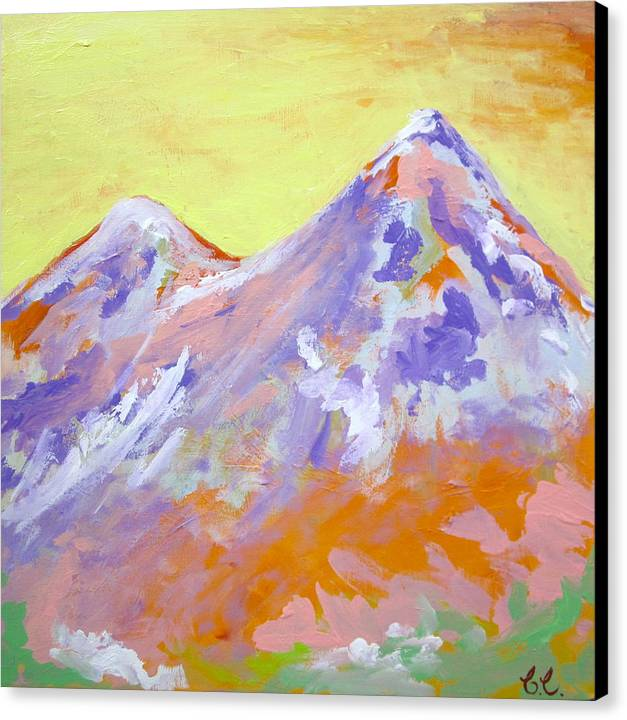 Mountains Canvas Print featuring the painting Home Sweet Home by Britta Loucas