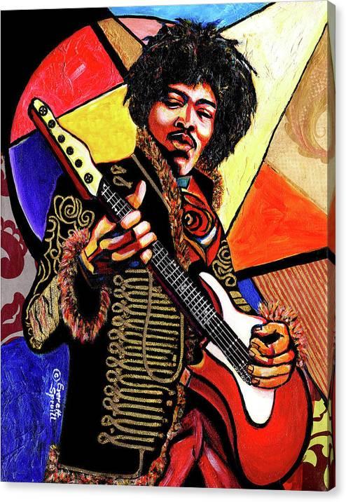 Everett Spruill Canvas Print featuring the mixed media Jimi Hendrix by Everett Spruill