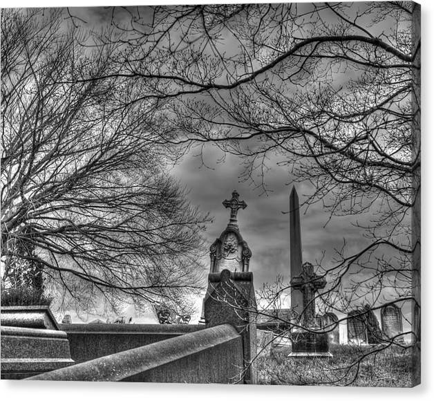 Limited Time Promotion: Eerie Graveyard Stretched Canvas Print by Jennifer Ancker