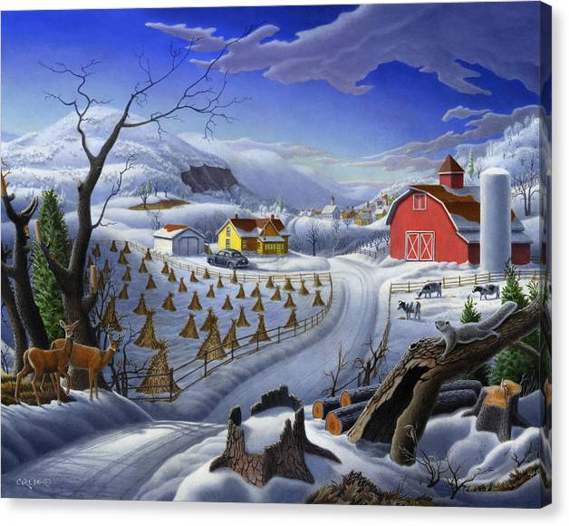 Limited Time Promotion: Folk Art Winter Landscape Stretched Canvas Print