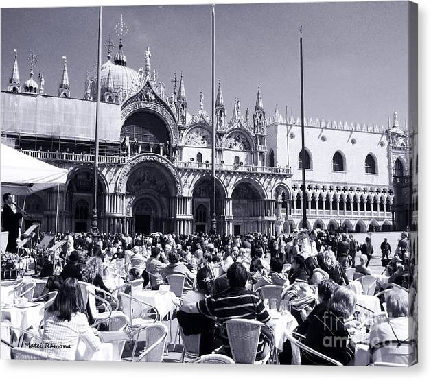 Limited Time Promotion: Jazz In Piazza San Marco Black And White  Stretched Canvas Print
