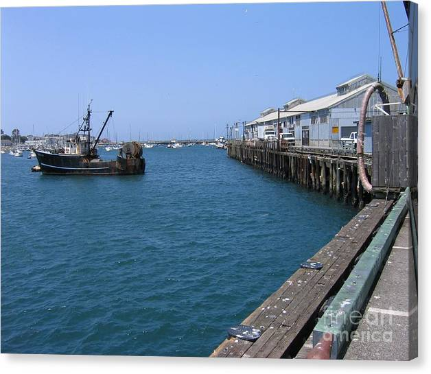 Limited Time Promotion: Monterey Municipal Wharf Stretched Canvas Print by James B Toy