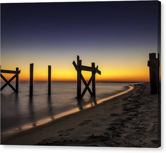 Limited Time Promotion: Sunset Pier Stretched Canvas Print