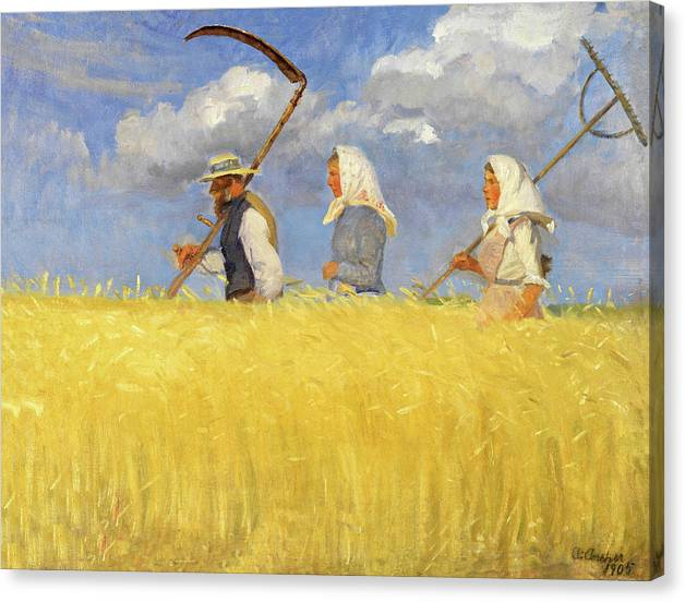 Limited Time Promotion: Anna Ancher Harvesters 1905 Stretched Canvas Print
