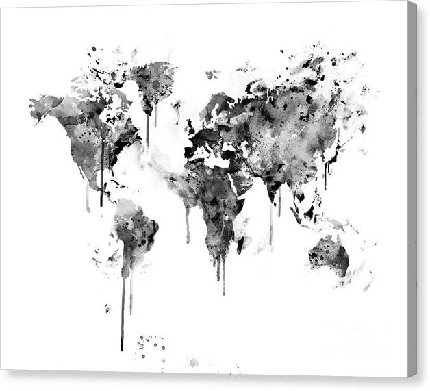 Limited time promotion black and white world map stretched canvas print gumiabroncs Image collections