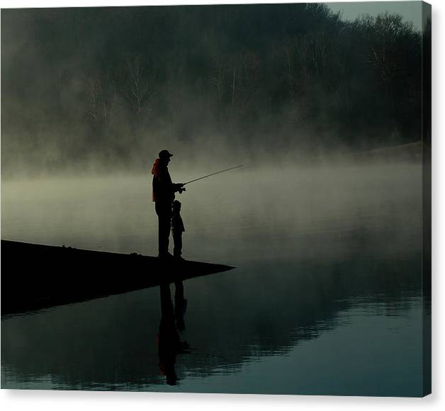 Limited Time Promotion: Father And Son Fishing Stretched Canvas Print