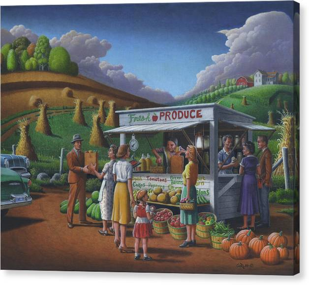 Limited Time Promotion: Fresh Produce - Roadside Produce Stand - Vegetables - Fruit Stretched Canvas Print