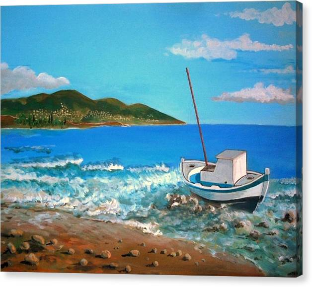 Limited Time Promotion: Old Boat At The Beah Stretched Canvas Print