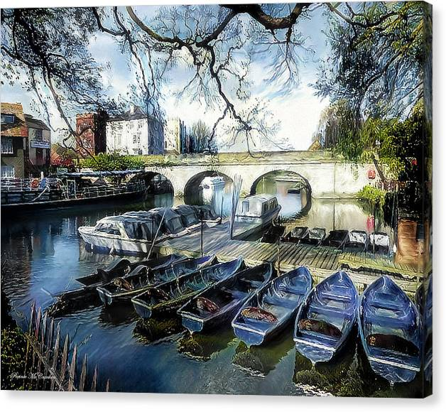 Limited Time Promotion: Punting On The Thames Stretched Canvas Print by Pennie McCracken - Endless Skys