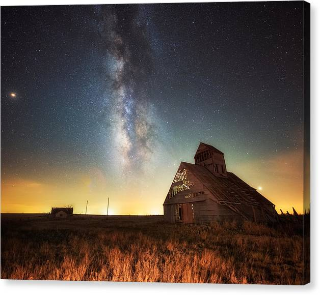 Limited Time Promotion: Rattlesnake Silo Barn Stretched Canvas Print by Russell Pugh