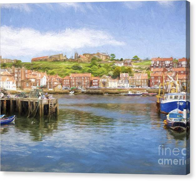 Limited Time Promotion: Whitby Harbour Stretched Canvas Print