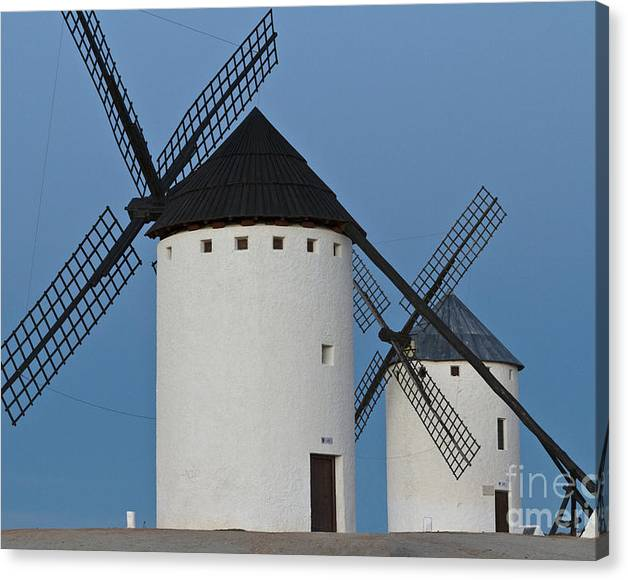 Limited Time Promotion: White Windmills Stretched Canvas Print