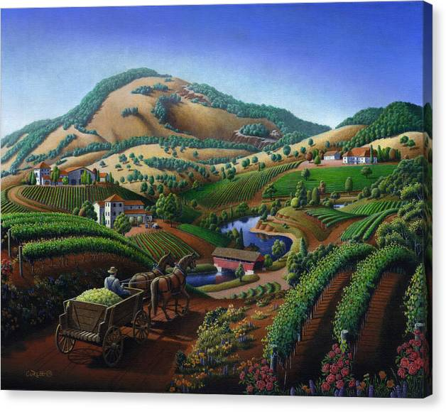 Limited Time Promotion: Old Wine Country Landscape - Delivering Grapes To Winery - Vintage Americana Stretched Canvas Print
