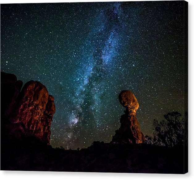 Limited Time Promotion: Milky Way Over Balanced Rock Stretched Canvas Print