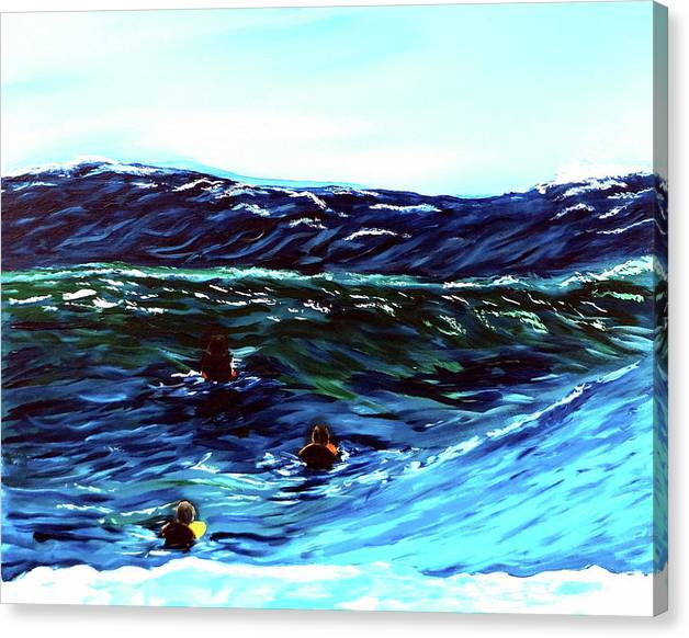 Limited Time Promotion: Surf Riders Stretched Canvas Print by Katy Hawk