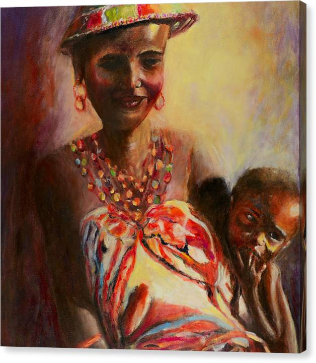 Limited Time Promotion: African Mother And Child Stretched Canvas Print by Sher Nasser