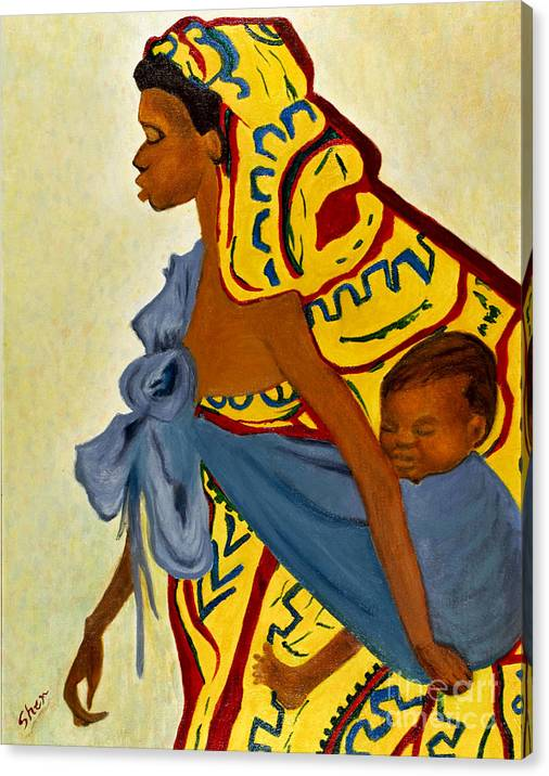 Limited Time Promotion: Mama Toto African Mother And Child Stretched Canvas Print by Sher Nasser Artist