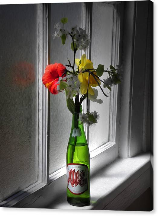 Limited Time Promotion: Ale 8 And Flowers Stretched Canvas Print