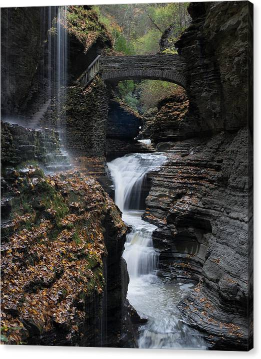 Limited Time Promotion: Watkins Glen Rainbow Falls Stretched Canvas Print