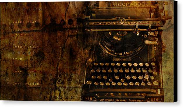 Typewriter Poetry Writing Canvas Print featuring the photograph Typewriter by Inesa Kayuta