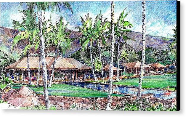 Hawaiian Architecture Canvas Print featuring the drawing Kukio Estate by Andrew Drozdowicz