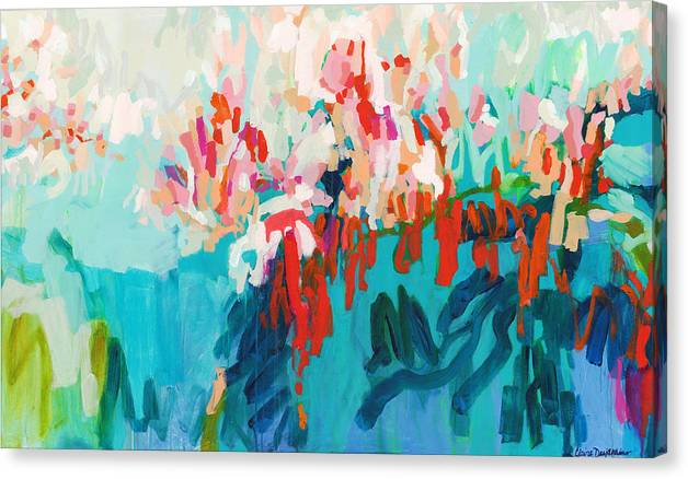 Abstract Canvas Print featuring the painting What Are Those Birds Saying? by Claire Desjardins