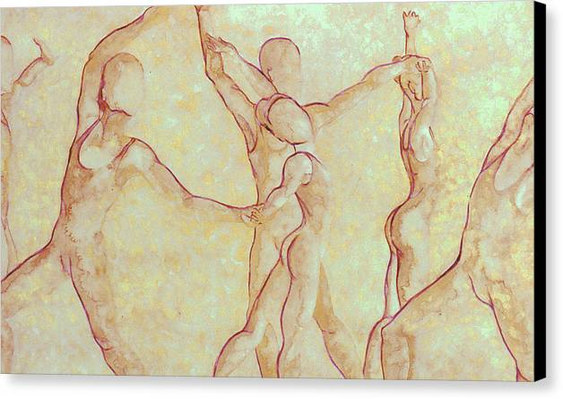 Watercolor Canvas Print featuring the painting Dancers - 10 by Caron Sloan Zuger