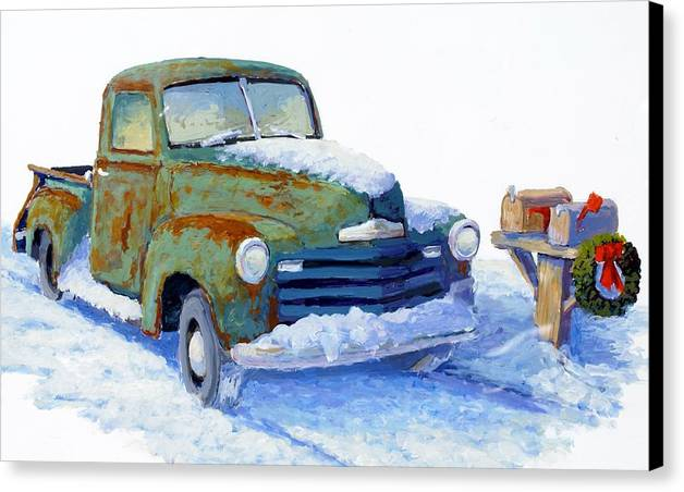 Old Truck Canvas Print featuring the painting Jingle Bells by Bob Adams