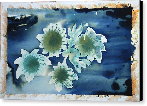 Blue Flowers Ink Dreamy Dream Blossom Canvas Print featuring the painting The Hopes And Dreams Of A Blossom On A Lake by Amy Bernays