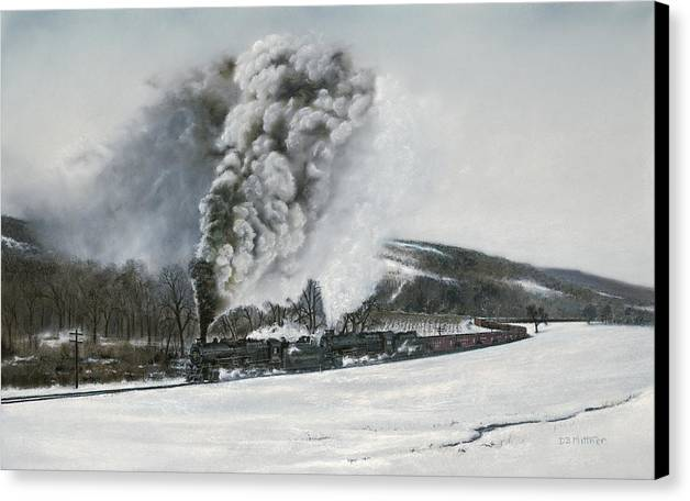 Trains Canvas Print featuring the painting Mount Carmel Eruption by David Mittner