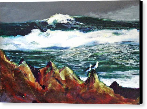 Seascape Canvas Print featuring the painting Near Pacific Grove by Paul Miller