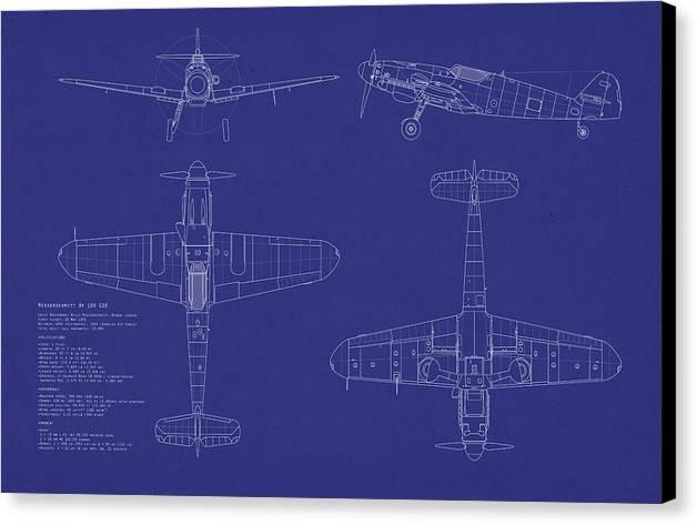 Messerschmitt Canvas Print featuring the digital art Messerschmitt Me109 by Michael Tompsett